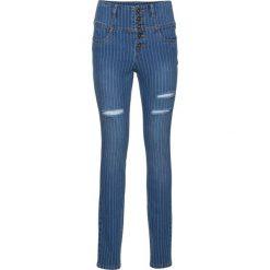 Dżinsy SKINNY z wysoką talią bonprix ciemny denim. Niebieskie jeansy damskie skinny marki House, z jeansu. Za 59,99 zł.