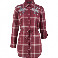 Długa bluzka bawełniana z haftem bonprix czerwony klonowy w kratę. Czerwone bluzki asymetryczne bonprix, z haftami, z bawełny, z długim rękawem. Za 49,99 zł.
