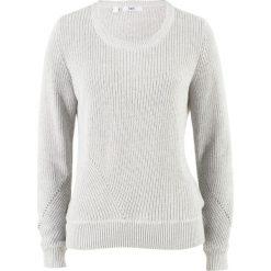 Sweter bawełniany, długi rękaw bonprix jasnoszary melanż. Szare swetry klasyczne damskie bonprix, z bawełny. Za 49,99 zł.