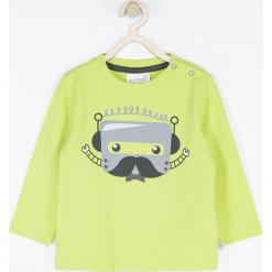 Koszulka. Zielone t-shirty chłopięce z długim rękawem ROBOTS, z aplikacjami, z bawełny. Za 39,90 zł.