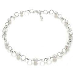 Naszyjniki damskie: Srebrny naszyjnik z perłami – (D)40 cm