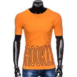 T-SHIRT MĘSKI Z NADRUKIEM S978 - POMARAŃCZOWY. Brązowe t-shirty męskie z nadrukiem marki Ombre Clothing, m. Za 29,00 zł.