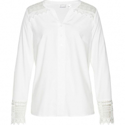 Bluzka bonprix biały. Białe bluzki koronkowe marki bonprix, eleganckie, z dekoltem w serek, z długim rękawem. Za 109,99 zł.