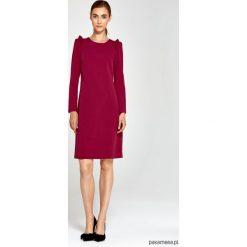Sukienki hiszpanki: Sukienka z falbankami na ramionach s89 – bordo