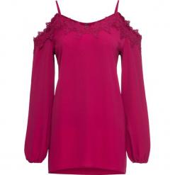 Bluzka z wycięciami na ramionach bonprix jeżynowy. Fioletowe bluzki z odkrytymi ramionami marki bonprix, z koronki. Za 89,99 zł.