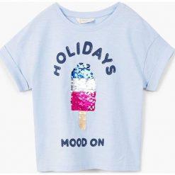 Mango Kids - Top dziecięcy Cold 110-164 cm. Szare bluzki dziewczęce Mango Kids, z aplikacjami, z bawełny, z okrągłym kołnierzem. W wyprzedaży za 29,90 zł.