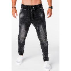 SPODNIE MĘSKIE JOGGERY P677 - CZARNE. Czarne joggery męskie Ombre Clothing, z bawełny. Za 89,00 zł.