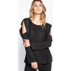 Bluzki asymetryczne: Bluzka z okrągłym dekoltem i długim rękawem, jednokolorowa