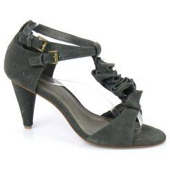 Sandały damskie: Evento Piękne Skórzane Sandały Zamszowe