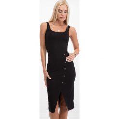 Sukienki hiszpanki: Czarna sukienka z guzikami 21529
