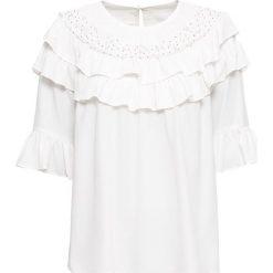 Bluzki damskie: Bluzka z perełkami bonprix biel wełny