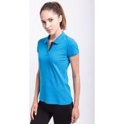 Koszulka polo damska TSD051z - niebieski jasny - 4F. Szare bluzki sportowe damskie marki 4f, l, z elastanu, z dekoltem w łódkę. Za 59,99 zł.