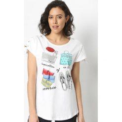 T-shirty damskie: Biały T-shirt Catwalk