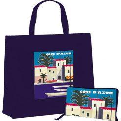 """Torba """"Côte d'Azur"""" w kolorze granatowym na zakupy - 46 x 40 x 19 cm. Niebieskie shopper bag damskie Éditions Clouet, w ażurowe wzory, z tworzywa sztucznego, z nadrukiem. W wyprzedaży za 24,95 zł."""