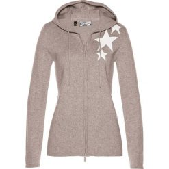 Sweter rozpinany bonprix kamienisto-biel wełny. Szare kardigany damskie bonprix, z wełny. Za 109,99 zł.
