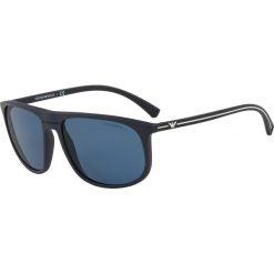 Emporio Armani - Okulary. Szare okulary przeciwsłoneczne męskie wayfarery marki Emporio Armani, l, z nadrukiem, z bawełny, z okrągłym kołnierzem. Za 599,90 zł.