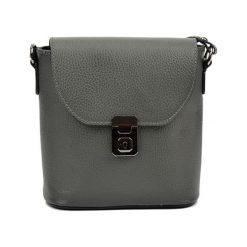Torebki klasyczne damskie: Skórzana torebka w kolorze szarym – (S)21 x (W)22 x (G)7,5 cm