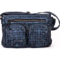 Torebki klasyczne damskie: Skórzana torebka w kolorze niebieskim – 31 x 22 x 7 cm