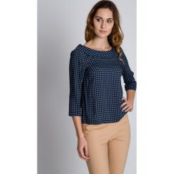 Bluzki asymetryczne: Pudełkowa bluzka w delikatne białe kropki BIALCON
