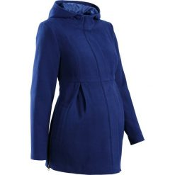 Płaszcz ciążowy z kapturem, z regulacją obwodu bonprix kobaltowy. Niebieskie kurtki ciążowe marki bonprix, na jesień, moda ciążowa. Za 124,99 zł.