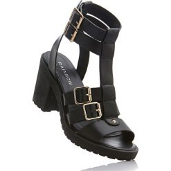 Sandały bonprix czarny. Czarne rzymianki damskie bonprix, na obcasie. Za 109,99 zł.