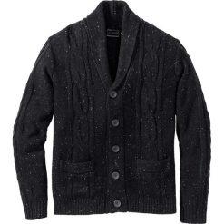 Kardigany męskie: Sweter rozpinany z szalowym kołnierzem i efektowną przędzą Regular Fit bonprix ciemnoantracytowy