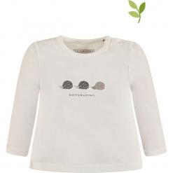 Koszulka w kolorze białym. Białe bluzki dziewczęce bawełniane bellybutton, z nadrukiem, z okrągłym kołnierzem, z długim rękawem. W wyprzedaży za 35,95 zł.