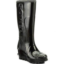 Kalosze SOREL - Joan Rain Wedge Tall Gloss NL2527 Black/Sea Salt 010. Czarne buty zimowe damskie Sorel, z gumy. W wyprzedaży za 419,00 zł.