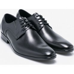 Wojas - Półbuty. Czarne buty wizytowe męskie Wojas, z materiału, na sznurówki. W wyprzedaży za 229,90 zł.