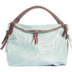 Torebki klasyczne damskie: Skórzana torebka w kolorze turkusowym – 40 x 36 x 16 cm