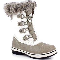 """Kozaki """"Megeve"""" w kolorze biało-beżowym. Szare buty zimowe damskie marki Marco Tozzi. W wyprzedaży za 346,95 zł."""