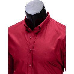 KOSZULA MĘSKA ELEGANCKA Z DŁUGIM RĘKAWEM K219 - BORDOWA. Brązowe koszule męskie na spinki marki Ombre Clothing, m, z aplikacjami, z kontrastowym kołnierzykiem, z długim rękawem. Za 49,00 zł.