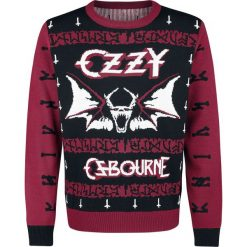 Ozzy Osbourne Holiday Sweater 2018 Sweter z dzianiny wielokolorowy. Białe swetry klasyczne męskie Ozzy Osbourne, l, z napisami, z dzianiny, z dekoltem na plecach. Za 164,90 zł.
