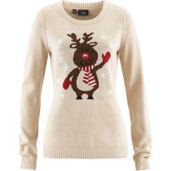 Swetry klasyczne damskie: Sweter z okrągłym dekoltem bonprix beżowo-szary