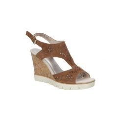 Rzymianki damskie: Sandały Marco Tozzi  Sandały brązowe ażurowe  2-28354-28