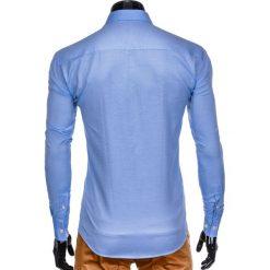 KOSZULA MĘSKA Z DŁUGIM RĘKAWEM K408 - BŁĘKITNA. Brązowe koszule męskie marki Ombre Clothing, m, z aplikacjami, z kontrastowym kołnierzykiem, z długim rękawem. Za 59,00 zł.
