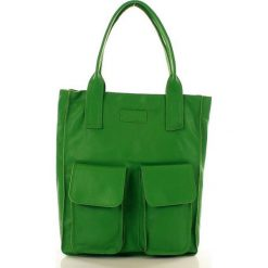 Shopper bag damskie: Torebka shopper z kieszeniami zielona MELODY