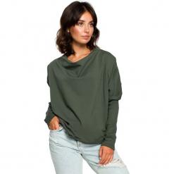 Zielona Oversizowa Bluza z Dekoltem Typu Woda. Zielone długie bluzy damskie Molly.pl, l, z dzianiny, z długim rękawem. Za 105,90 zł.
