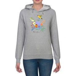 Bluza damska. Kwiaty i ptaki. Niebieskie bluzy z kapturem damskie marki Pakamera, z bawełny. Za 119,00 zł.