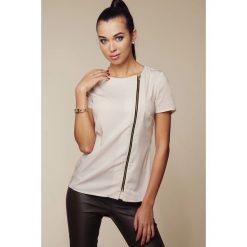 Bluzki damskie: Bluzka z Asymetrycznym Długim Suwakiem - Beżowy