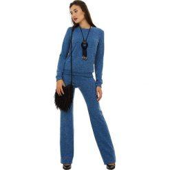 Swetry oversize damskie: 2-częściowy zestaw w kolorze niebieskim – sweter, spodnie