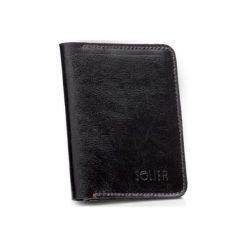 Portfele męskie: Cienki skórzany męski portfel z bilonówką SOLIER  SLIM CIEMNY BRĄZ