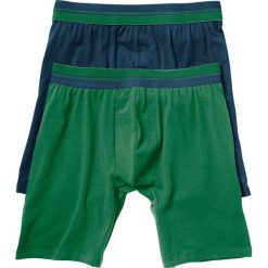 Długie bokserki (2 pary) bonprix ciemnoniebieski + zielony. Niebieskie bokserki męskie bonprix, w paski. Za 45,98 zł.