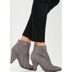 Missguided - Botki. Szare buty zimowe damskie marki Missguided, z materiału. W wyprzedaży za 79,90 zł.