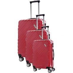 Zestaw walizek w kolorze czerwonym - 3 szt. Czerwone walizki marki Travel One, z materiału. W wyprzedaży za 619,95 zł.