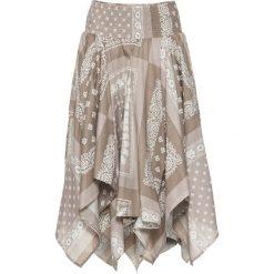 Spódnica z asymetryczną linią dołu bonprix brunatny z nadrukiem. Brązowe spódnice wieczorowe bonprix, z nadrukiem, asymetryczne. Za 129,99 zł.