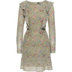 Sukienki: Sukienka szyfonowa bonprix oliwkowy w kwiaty