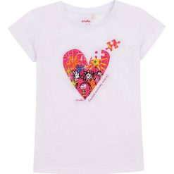 Endo - Top dziecięcy 98-128 cm. Szare bluzki dziewczęce Endo, z nadrukiem, z bawełny, z okrągłym kołnierzem, z krótkim rękawem. W wyprzedaży za 34,90 zł.
