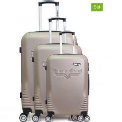 """Walizki (3 szt.) """"DC"""" w kolorze złotym. Białe walizki American Travel, z materiału. W wyprzedaży za 434,95 zł."""