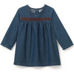 Sukienka dżinsowa z haftem 1 miesiąc - 3 lata. Szare sukienki niemowlęce La Redoute Collections, z haftami, z bawełny, z długim rękawem, długie, maxi. Za 69,26 zł.